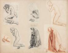 Henri Lehmann Kiel, 1814 - Paris, 1882 Etudes de personnages agenouillés Sept dessins au crayon noir, fusain et sanguine dans un mêm...