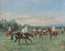 Baron Karl André Reille Paris, 1886 - Cerelles, 1974 Jockeys à l'entrainement Huile sur panneau d'isorel