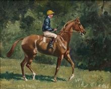 Baron Karl André Reille Paris, 1886 - Cerelles, 1974 Bubbles monté par un jockey de l'écurie du baron Edouard de Rothschild Huile su..