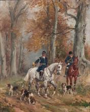Baron Karl André Reille Paris, 1886 - Cerelles, 1974 Scène de chasse à courre Huile sur carton