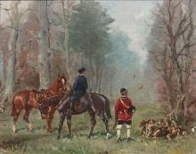 Baron Karl André Reille Paris, 1886 - Cerelles, 1974 Chevaux et valet de chiens dans une allée Huile sur panneau