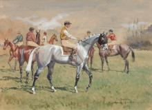 Baron Karl André Reille Paris, 1886 - Cerelles, 1974 Sur le champ de courses de Longchamp Aquarelle gouachée sur trait de crayon