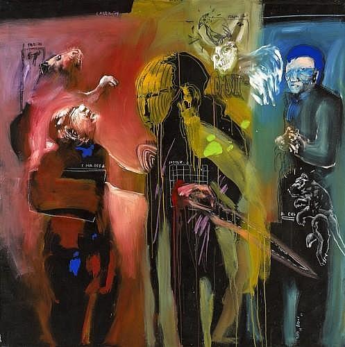 Soly CISSE (Né en 1969 à Dakar) LES GUERISSEURS, 2010 Technique mixte et pastel sur toile