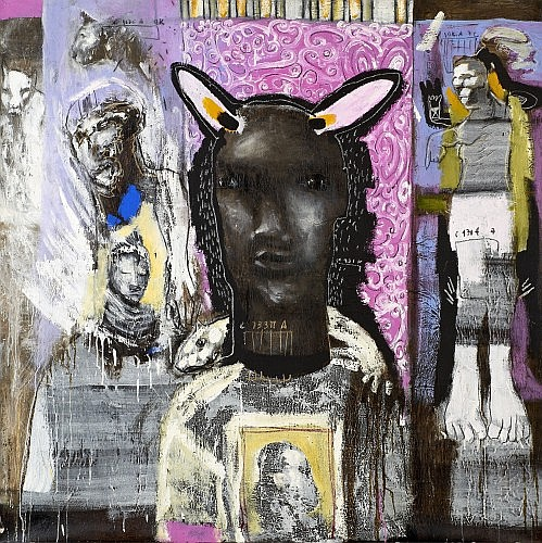 Soly CISSE (Né en 1969 à Dakar) AURA, 2004 Technique mixte et pastel sur toile
