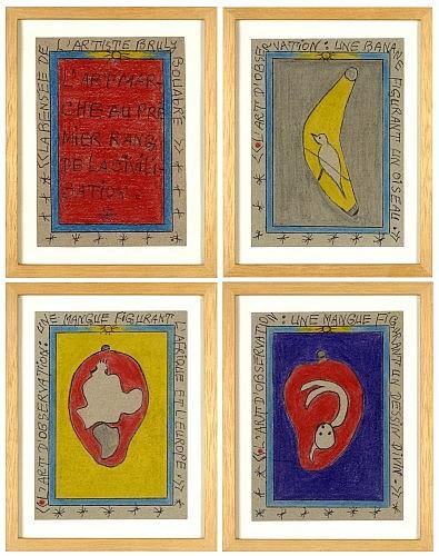 Frederic Bruly BOUABRE (Né en 1923 en Côte d'Ivoire) L'ART D'OBSERVATION: UNE MANGUE FIGURANT L'AFRIQUE ET L'EUROPE