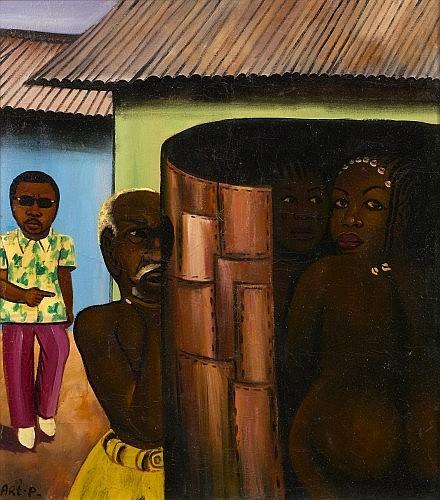 MOKE (1950 -2001) NKOKO MABE, 1980 acrylique sur sac de farine