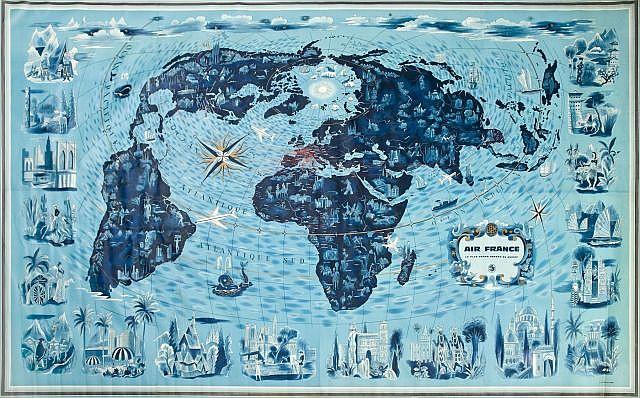 Lucien BOUCHER (1889- 1971) Air France - Planisphère Bleu