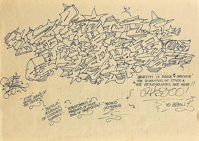 PHASE II (M.L. MARROW dit) Né en 1958 GRAFFITI IS PASSE + OBSOLETE - 1984 Feutre sur papier