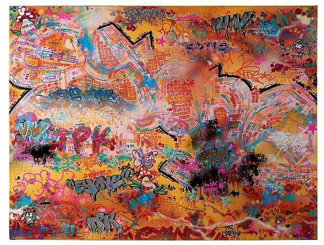 EYONE Né en 1976 SANS TITRE - 2010 Peinture aérosol, acrylique et marqueur sur toile