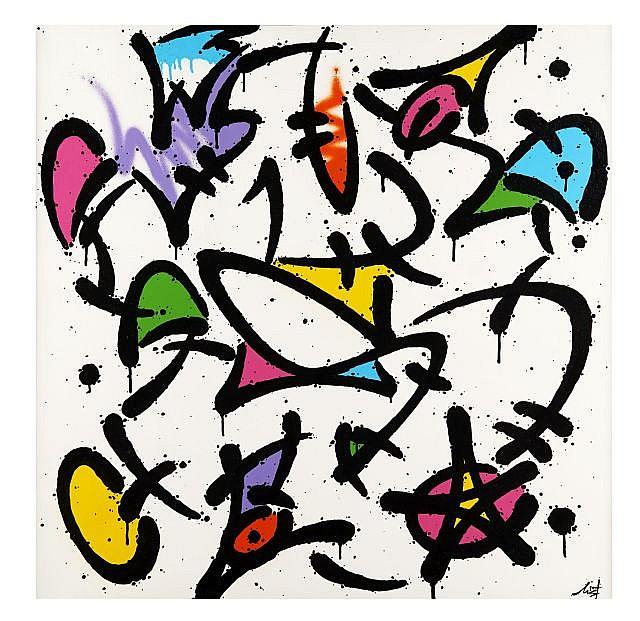 MIST Né en 1972 ELECTRIC MIST - 2009 Gouache et peinture aérosol sur toile