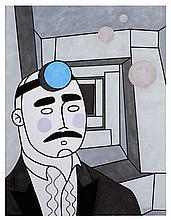 HONET (HNT) Né en 1972 AUTOPORTRAIT - 2009 Acrylique et marqueur sur papier