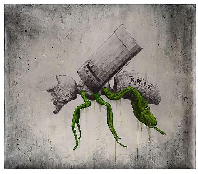 LUDO Né en 1976 S.W.A.T. - 2013 Huile et graphite sur toile