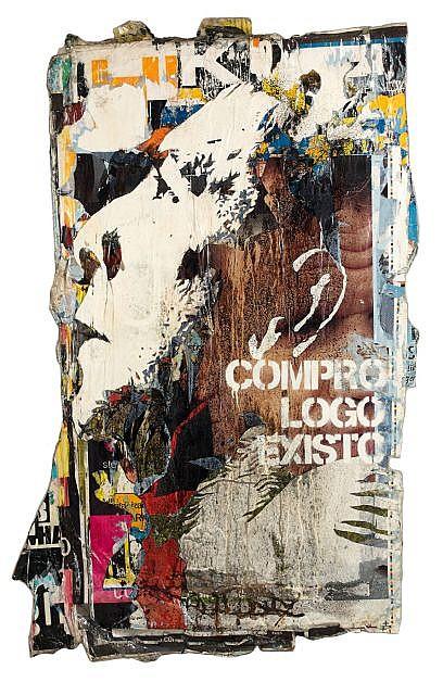 VHILS (Alexandre Farto dit) Né en 1987 COMPRO LOGO EXISTO #9 - 2008 Affiches collectées dans la rue et résine