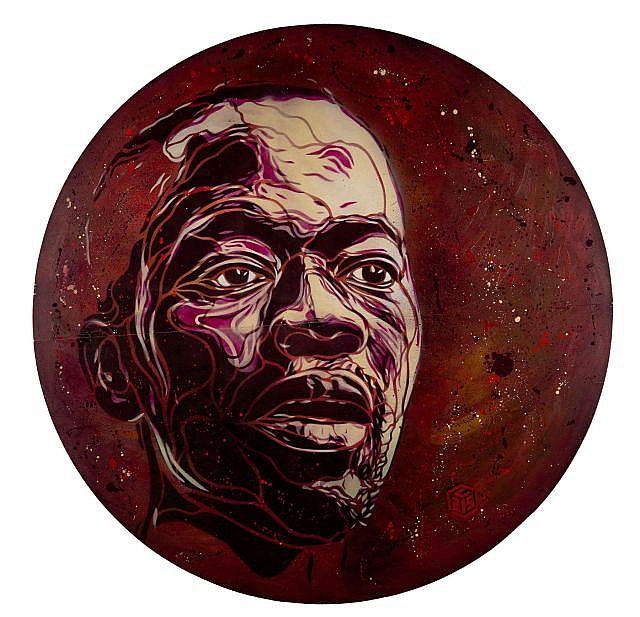 C215 Né en 1973 AFRICAN MAN - 2009 Pochoir, peinture aérosol et acrylique sur panneau de bois