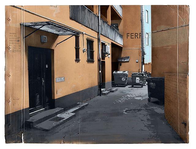 EVOL Né en 1970 IRGENDWO IN KREUZBERG VERSION #7 - 2010 Pochoir et peinture aérosol sur carton (HPM) dans un encadrement en bois