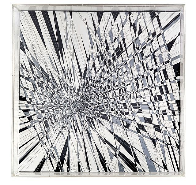 Thomas CANTO Né en 1979 SUSPENDED BURST - 2014 Acrylique et fils sur panneau dans un caisson en plexiglas