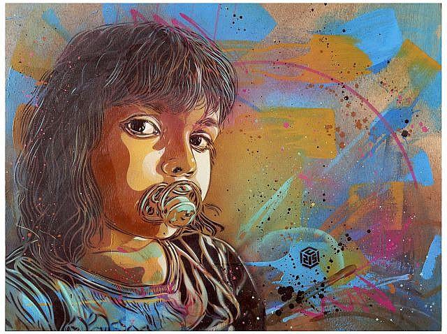 C215 Né en 1973 SANS TITRE (PORTRAIT DE NINA) - 2012 Pochoir, peinture aérosol et acrylique sur bois
