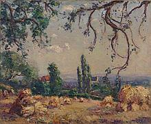 Emmanuel de LA VILLEON 1858 - 1944 PAYSAGE AUX MEULES DE FOIN Huile sur toile