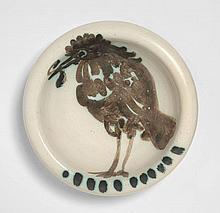 Pablo PICASSO 1881 - 1973 Oiseau au ver - 1952 (A.R.#172) Cendrier rond tourné
