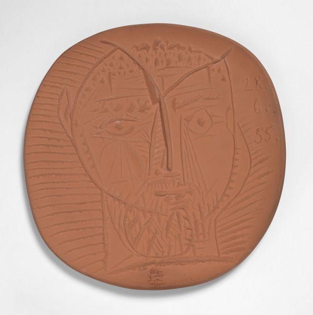 Pablo PICASSO 1881 - 1973 Visage de faune - 1955.28 juin (A.R # 282 - G.R # 63) Assiette ronde / carrée