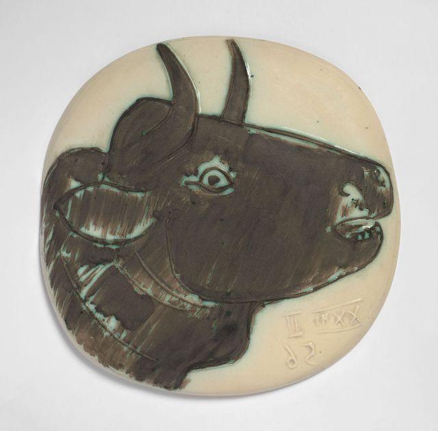 Pablo PICASSO 1881 - 1973 Profil de taureau - 1956.22 février (A.R # 317 - G.R # 83) Plaque murale convexe