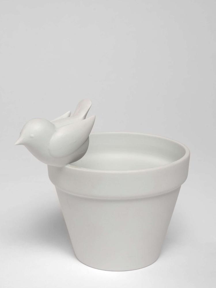François-Xavier LALANNE 1927 - 2008 Sans titre (pot oiseau) - 1998 Biscuit de porcelaine de Paris