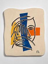 Fernand LEGER (d''après) 1881 - 1955 Visage aux deux mains Céramique à décor polychrome émaillé