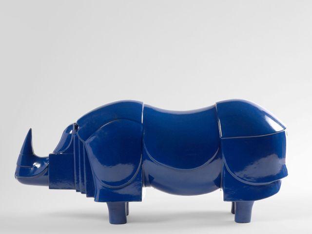 François-Xavier LALANNE 1927 - 2008 Rhinoceros bleu - 1981 Bronze à patine émaillée bleue