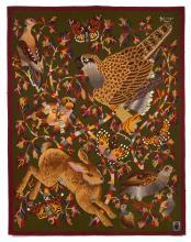 René Perrot & ATELIER TABARD (1912-1979) Lièvre et oiseaux - 1947