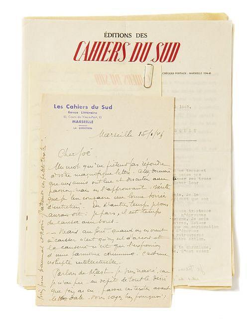 Jean BALLARD 4 lettres à Joe Bousquet. Tapuscrit hommage à Joe Bousquet 3 l.a.s, 1 l.t.s. 7 p....