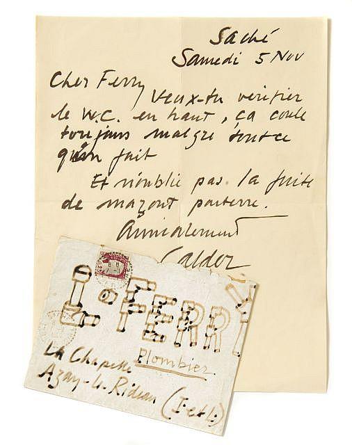 Alexandre CALDER L.a.s. à son plombier, [1960] Saché, samedi 5 nov. [1960]. 1 p. in-4, signé Ca...