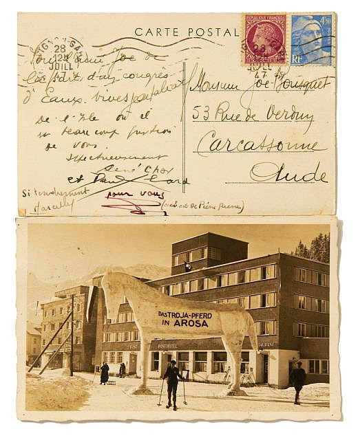 René CHAR, Paul ELUARD, Gala ELUARD, Pierre GUERRE  2 cartes postales