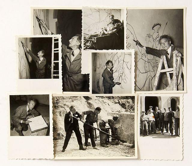 [Jean COCTEAU] Jean TRIQUENOT  97 photographies du chantier de la Chapelle Saint Pierre, Villefranche-sur-Mer