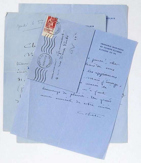 [Sidonie-Gabrielle Colette, dite] COLETTE 3 l.a.s 4 p. (3 p. in-8 et 1 p. in-4). Papier bleu, P...