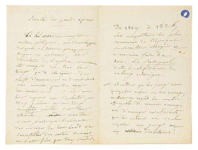 Eugène DELACROIX  Rareté des grands opéras, [1863]