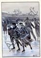 [HETZEL] George ROUX Patineurs sur glace Dessin à la plume et au lavis sur carte, rehaussé à la...