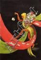 [Jacques SAIGNIER] JAC Semeuse de fleurs Projet original d'affiche, 92 x 62,5 cm. Gouache, mine...