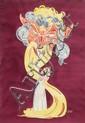 [Jacques SAIGNIER] JAC [Parfum] Bacchus aux parfums Projet original d'affiche, 92 x 66 cm. Goua...