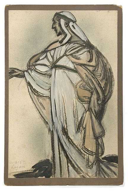 Maxime DETHOMAS Etude de costume Fusain et gouache de couleur sur papier, contrecollé sur carto...