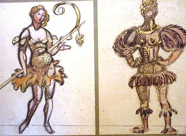 Maxime DETHOMAS 2 costumes pour Rameau Fusain et gouache, rehaut de peinture dorée. 31 x 24 cm ...
