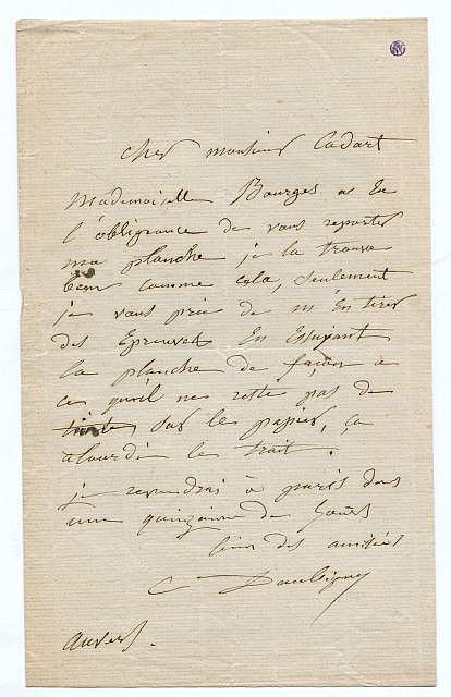 Charles-François DAUBIGNY L.a.s. à Alfred Cadart Auvers[-sur-Oise], s.d. 1 p. in-8, papier verg...