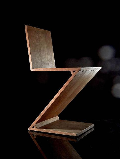 Gerrit thomas rietveld 1888 1964 chaise zig zag cr ati for Chaise zig zag