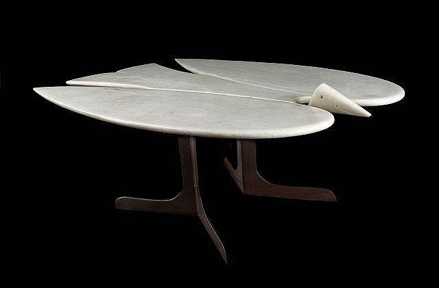 Fran ois xavier lalanne 1927 2008 table basse oiseau de m for Table basse plateau marbre
