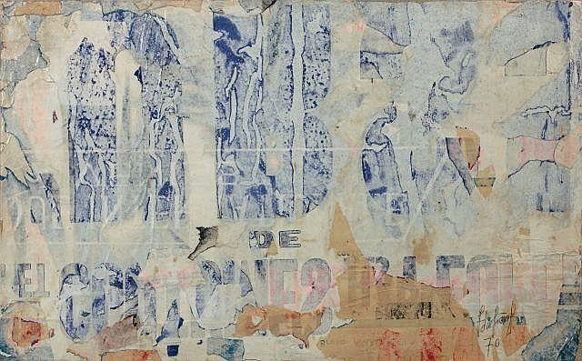 François DUFRENE (1930 - 1982) URSS - 1970 Dessous d''affiches marouflées sur toile