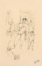 George GROSZ (1893 - 1959) LES ACROBATES Encre et crayon sur papier