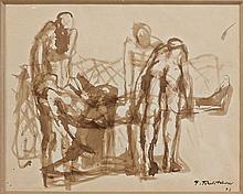 Pavel TCHELITCHEW (1898 - 1957) LA MORT DE L'ACROBATE - 1929 Encre et lavis d'encre sur papier