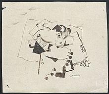 Georges VALMIER (1885 - 1937) COMPOSITION - Circa 1917-1918 Encre sur papier