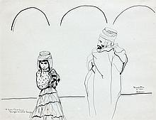 Léonard Tsuguharu FOUJITA (1886 - 1968) HOMME ET JEUNE FILLE AU SAHARA - 1951 Encre de Chine sur papier