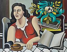 Georges BAUQUIER (1910 - 1997) FEMME A LA TABLE ET AU LIVRE - 1949 Huile sur toile