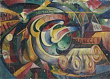 Arturo CIACELLI (1883 - 1966) ROULETTE, FOIRE A MONTMARTRE - 1915 Huile sur toile